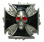 Skull and Cross Belt Buckle with display stand. Code GA4